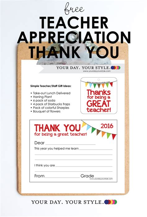Choose from a wide variety of templates for teacher's day, end of the year or just because. Free Teacher Appreciation Note Card and Gift Tag