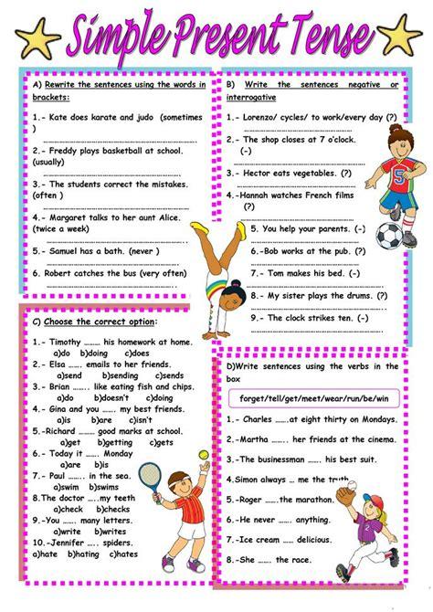 simple present tense worksheet  esl printable