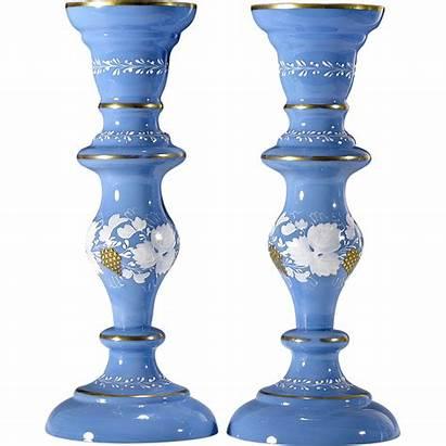 Glass Antique Candlesticks Vases Victorian Opaline Gold