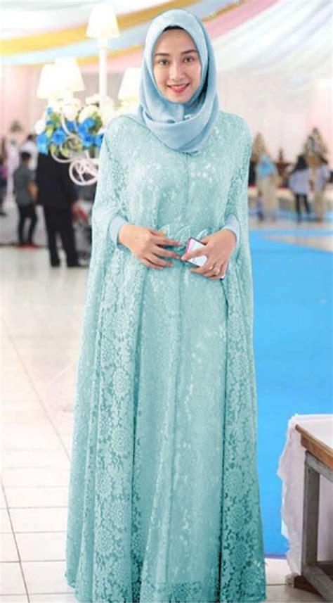 baju gamis pesta brokat terbaru renita biru muda baju gamis terbaru