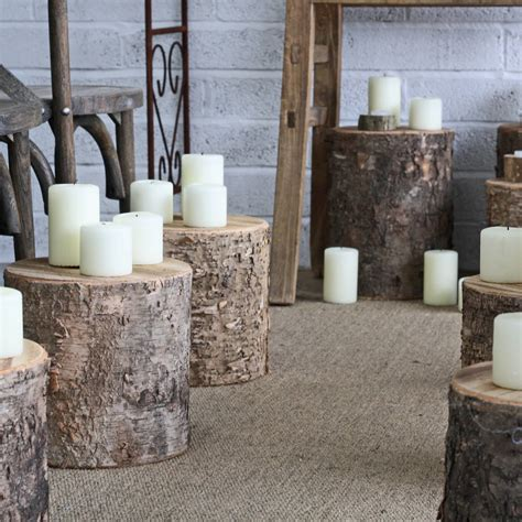 birch bark tree stumps by the wedding of my dreams
