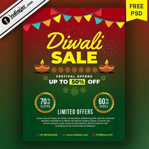 diwali sale flyer festival discount offers banner design indiater
