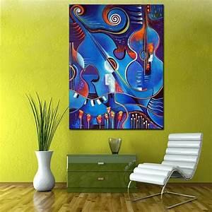 Toile Peinture Pas Cher : pas cher bleu abstraite violon peinture l 39 huile peint ~ Mglfilm.com Idées de Décoration