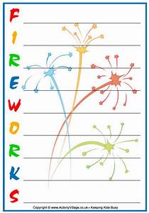fireworks acrostics With firework shape poems template