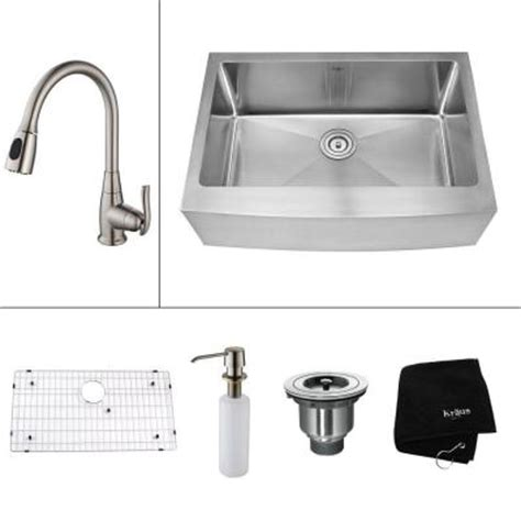 home depot kitchen sink accessories kraus all in one farmhouse apron front stainless steel 30