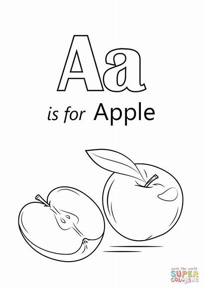 Coloring Letter Apple Pages Printable Sheet Drawing