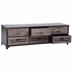 meuble tv industriel 40 idees et modeles 100 decales With amazing meubles pour petits espaces 9 salon au style industriel bois metal