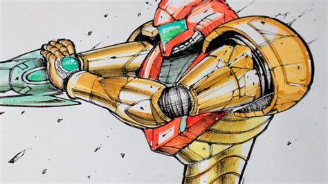 Drawing Samus Aran From Metroid Youtube
