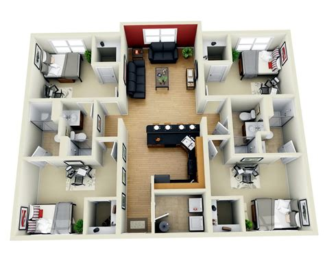 Home Design 4 Rooms : 4 Bedroom House Plans 3d