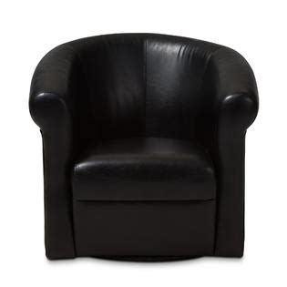 baxton studio julian black faux leather club chair with 360 degree swivel