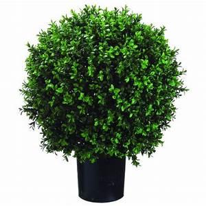 Silk Decor Ball Shape Boxwood Topiary, 26-Inch, Green