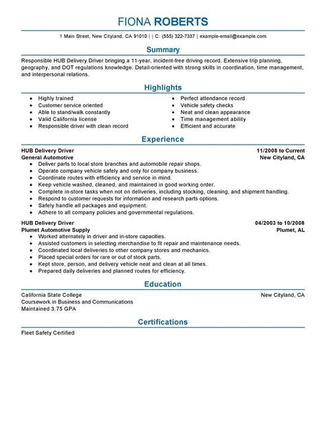 Delivery Driver Resume by Delivery Driver Duties Resume Resume Ideas