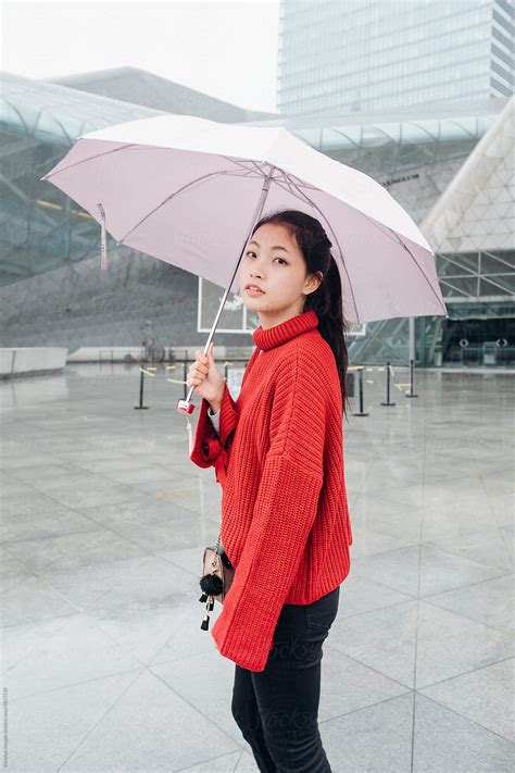asian teenage girl  umbrella  rainy day  pansfun