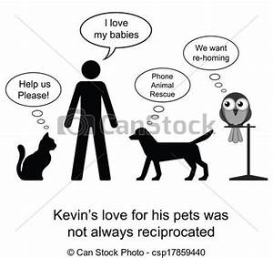 EPS Vector of Pet love - Kevin loved his pets cartoon ...