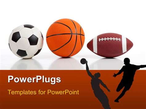 sports templates powerpoint template sports equipment on white including a basketball a soccer and an
