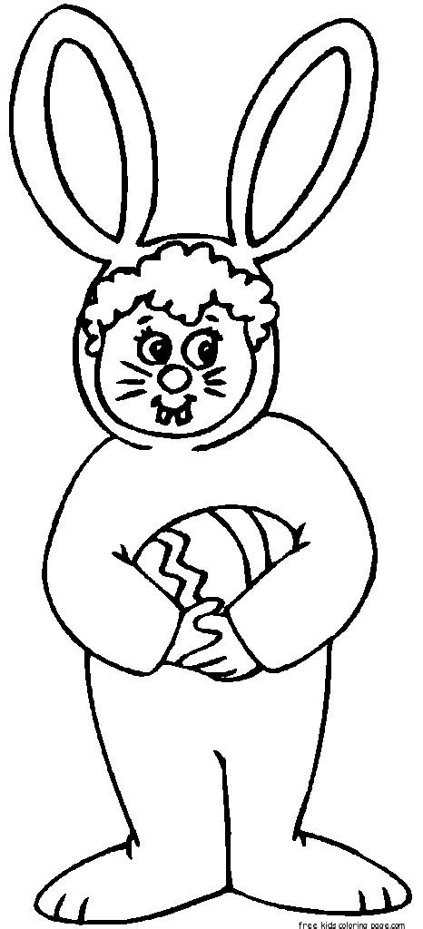 child easter bunny costume coloring pages  kidsfree