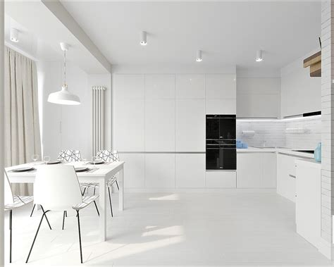 All White Home Interiors by White Grey Interior Design In The Modern Minimalist Style