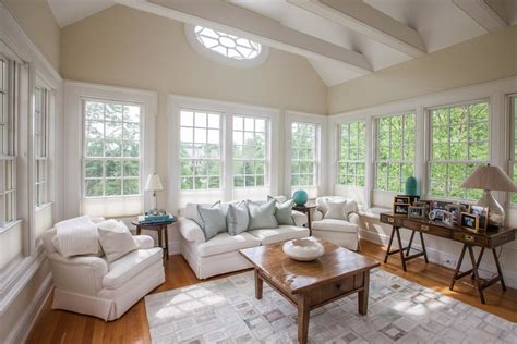 vaulted ceiling design family room traditional  beach