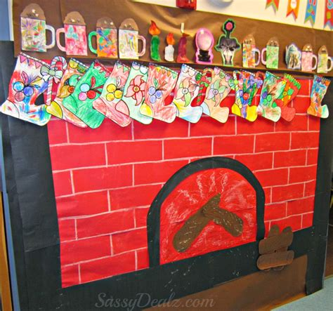 fireplace christmas bulletin board idea for your classroom crafty morning