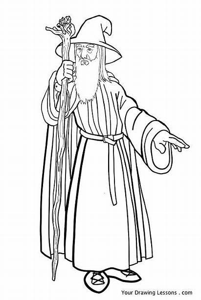 Gandalf Coloring Ringe Herr Drawing Lord Rings
