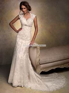 aliexpresscom buy cap sleeves open back lace wedding With lace wedding dresses with cap sleeves