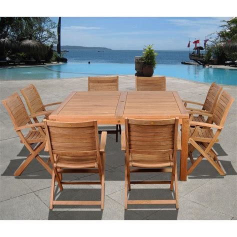 amazonia boynton square 9 piece teak patio dining set sc