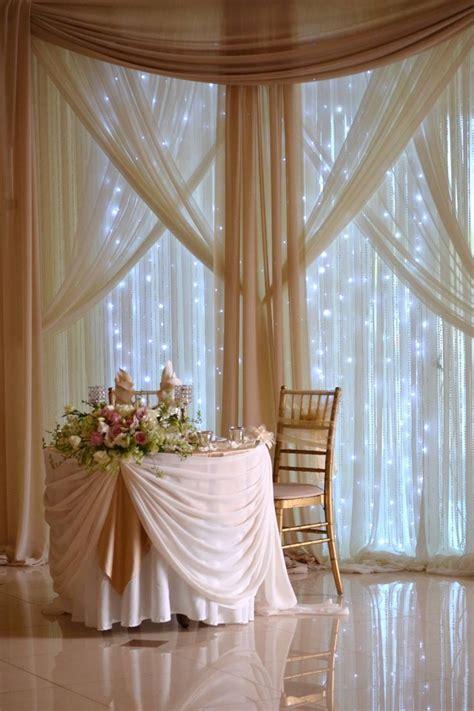 chiffon fabric backdrop  crystals  fairy lights