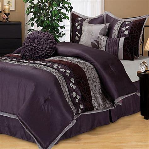 buy riley queen comforter set  purple  bed bath