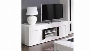 Meuble Tv En Hauteur : meuble tv blanc hauteur 60 cm meuble de salon contemporain ~ Teatrodelosmanantiales.com Idées de Décoration