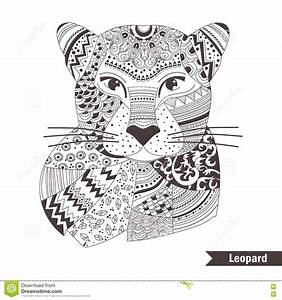 leopard coloring pages - leopard coloring book stock vector image of ornament