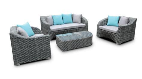 canapé 2 places et 3 places salon de jardin résine tressée gris usun mobilier moss