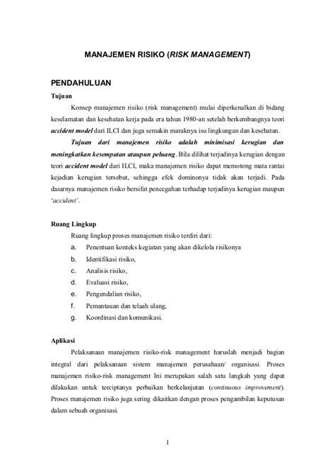 KONSULTAN MANAJEMEN RESIKO - RISK MANAGEMEN CONSULTANT I