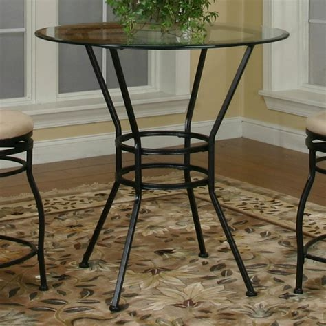 wolf table with glass table top round glass pub table w textured black pedestal base by