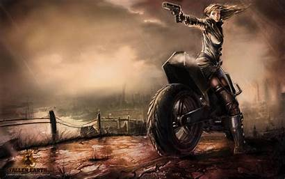 Motorcycle Anime Gun Character Female Pointing Riding