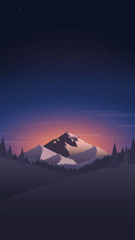 Available in 4k and hd, these concise. Digital-Minimal-Mountains-Forest-Night-iPhone-Wallpaper - iPhone Wallpapers