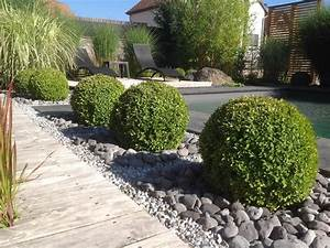 Idee Amenagement Jardin : photo id es am nagement mineral jardin avec buis ~ Melissatoandfro.com Idées de Décoration