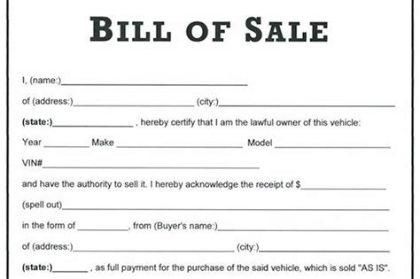 Selling Used Vehicle by General Bill Of Sale Forms All States