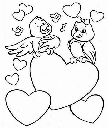 Valentines Coloring Valentine Pages Printable Birds Colouring
