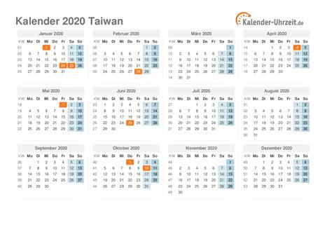 feiertage taiwan kalender uebersicht