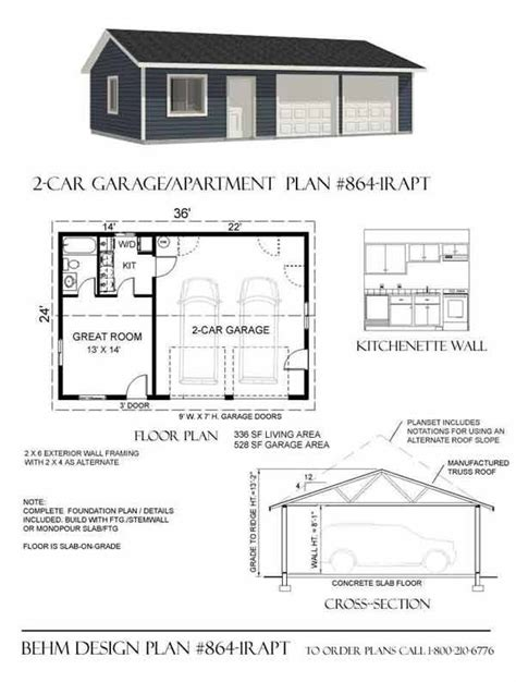 one garage apartment floor plans 2 car garage with apartment plan 864 1rapt 36 x 24 39 by