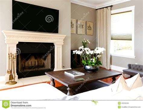 Bright Luxury Living Room With Fireplace And Tv Stock