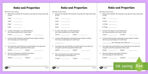 ratio  proportion differentiated worksheet