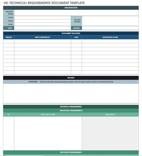 technical requirements document template free technical specification templates smartsheet