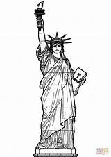 Liberty Statue Coloring Printable Supercoloring Drawing Dot Worksheets Paper sketch template