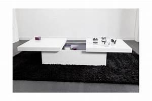 Table Basse Coulissante Blanche MADRID Design Sur SoFactory