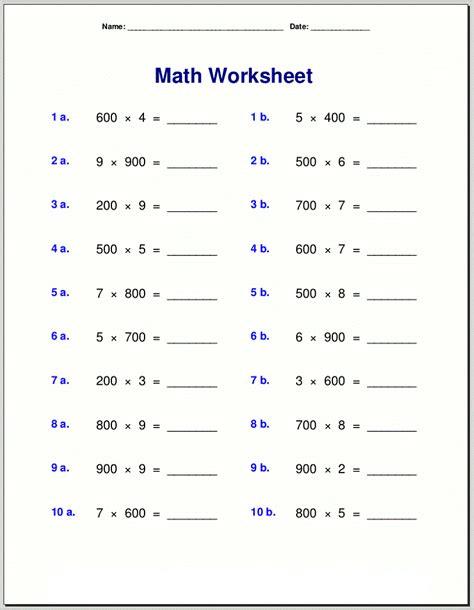 printable math worksheets  grade  activity shelter