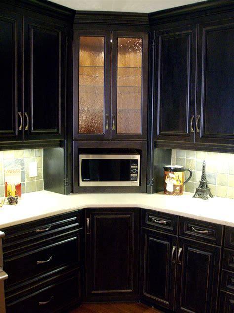 Corner built in microwave cabinet, with glass door upper