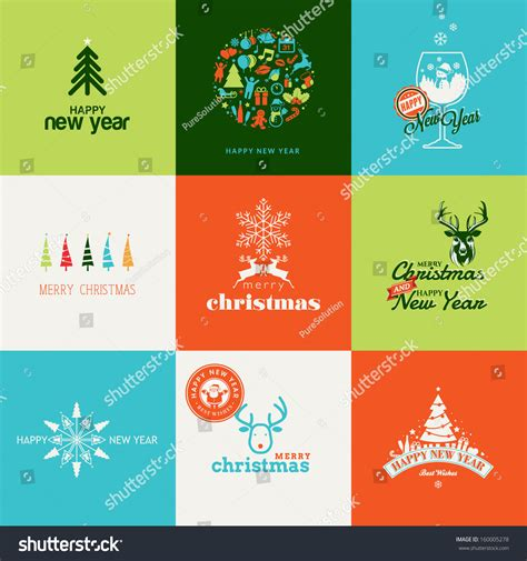 set elements christmas  year greeting stock vector