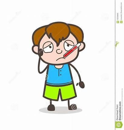 Ill Cartoon Fever Thermometer Boy Illustrations Illustration
