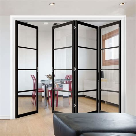 folding doors frame kit soho  pane  clear glass black